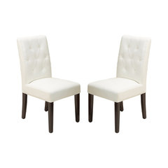 Waldon Leather Dining Chairs, Ivory, Set Of 2. White Leather Dining Chair