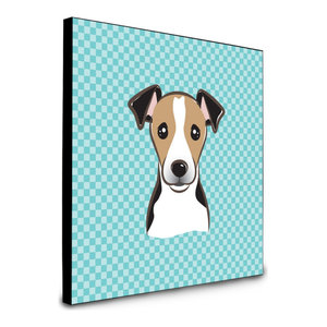 Checkerboard Blue Jack Russell Terrier Artwork Panel Wall Decor, Multicolor
