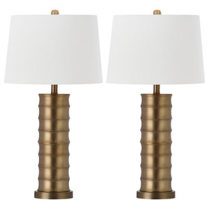 Linus Brass Column Table Lamp - Set of 2