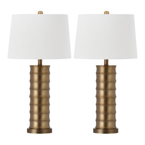 "Safavieh Linus Brass Column Table Lamps, 28.5"" High, Set of 2"