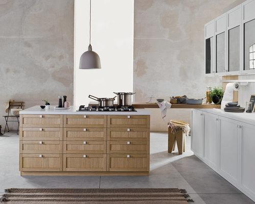 Cucina telaio bianca e rovere
