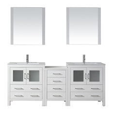 "Virtu Dior 78"" Double Bathroom Vanity, White, Ceramic Top, Faucet and Mirrors"