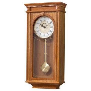 Bulova Manorcourt - Chiming Pendulum Wall Clock - Golden Oak Finish