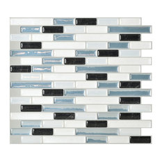 Muretto Brina Mosaic Peel and Stick Wall Tiles, White and Blue, Set of 10