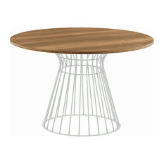 BRIGITTE Dining Table Chalk White Mat Lacquered Base Wood Veneered Top