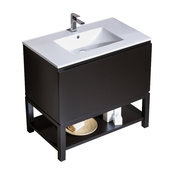 Vanity Emmet 37 with  Integrated White Porcelain, Metal Gray