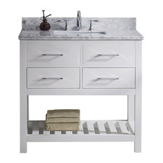 """Caroline Estate 36"""" Single Bath Vanity, White With Marble Top and Sink"""
