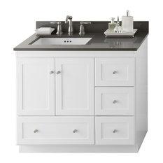 "Ronbow Essentials Shaker 36"" Bathroom Vanity Cabinet Base, White"