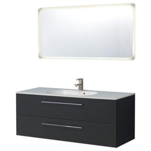 Boston Bathroom Vanity Unit With Backlit Mirror, Black, 120 cm