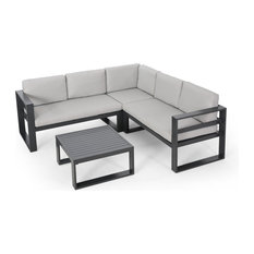 Queena Outdoor Aluminum Sofa Sectional With Coffee Table