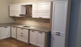 Cucina con finta muratura-