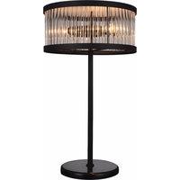 Stylishly Enchanted Metal Table Lamp With Marble Base, Black