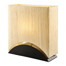"Sakura 17"" Space-Efficient Premium Shade Table Lamp With Black Lacquer Wood Base"