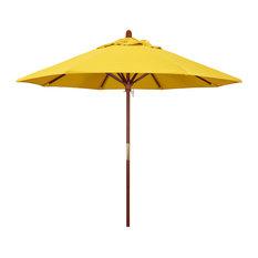 9' Wood Umbrella With Push Lift Open, Marenti Wood, Olefin, Lemon