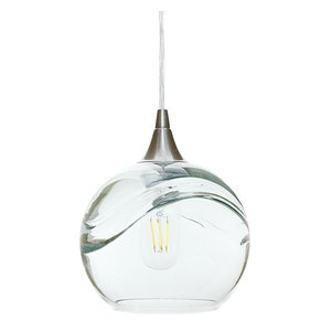 Swell Pendant Form No. 767, Clear Glass Shade, Brushed Nickel Hardware, 8W LED