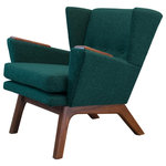 "Lewis Interiors - Mid Century Modern Handcrafted Lounge Accent Wingback Chair Teal Green, Medium W - One of our most popular mid century modern chairs for sale, our Short Back Lounger (SBL) mid century modern lounge chair is the streamlined club-version of our famous Lewis Tall Lounger. This low back, sleek chair has the same base dimensions as our LTL mid century modern lounge chair, but it features a 11"" shorter back. This design gives your room space the retro lounge feel you're looking for.  It also looks absolutely fabulous paired with our ottoman! Don't pay for a mass manufactured, low quality mid century modern lounge chair when you can have custom, handcrafted SBL mid century modern chairs made to your exact specifications!"
