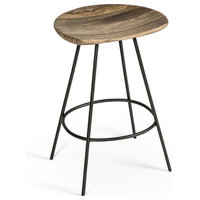 Adrian Industrial Steel and Natural Wood Counter Stool