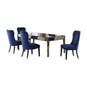 Alice 5 Piece Mirrored Dining Set, Blue