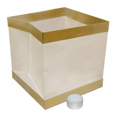 Floating Water Lanterns, White With Gold Trim, Set of 6