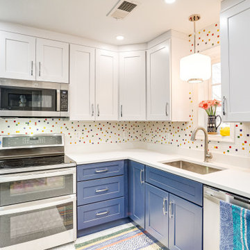 White and Blue Kitchen Design Chevy Chase, MD