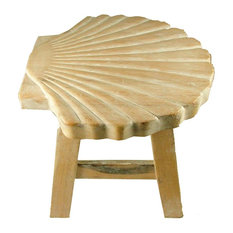 Tropical Scallop Seashell Hand Carved Whitewashed Wood Bath Kitchen Step Stool