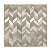Modern Chevron Patterned Wooden Wall Panel, Brown, Silver and Violet,24""