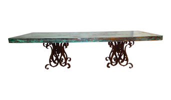 "Rectangular Wrought Iron Dining Table With 96x48"" Oxidized Copper Top"