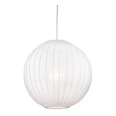 Kira Home Nova 12 Modern White Fabric Shade Globe Pendant Light