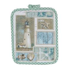 Coastal Lighthouse Shells and Coral Kitchen Pot Holder