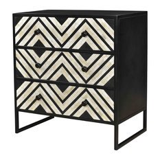 32-inch T Ivone Dresser Gunmetal Finished Iron Bone Inlay Pattern Front 3 Drawers