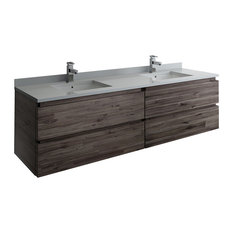 """Formosa Wall Hung Double Sink Modern Bathroom Cabinet Only, 70"""""""