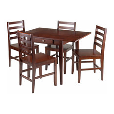 Winsome Wood Hamilton 5-Pc Drop Leaf Dining Table With 4 Ladder Back Chairs