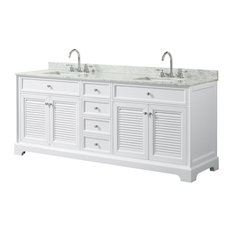 "80"" Double Bathroom Vanity, White, White Marble top, Square Sinks,"
