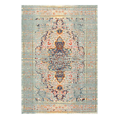 Hazy Damask Medallion Mirage Area Rug, Gray, 3'x5'