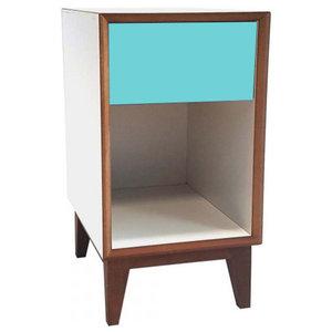 Pix Large Scandinavian Bedside Table, Dark Turquoise