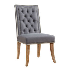First Of A Kind   Garrett Gray Linen Dining Chair   Dining Chairs