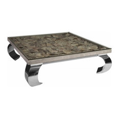 48-inchW Shell Coffee Table With Glass Top Stainless Steel Curled Legs