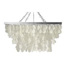 Rectangular pendant lighting houzz kouboo rectangular rain drop capiz chandelier natural white pendant lighting mozeypictures Images