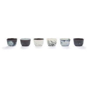 Pigments and Porcelain Coffee/Cappuccino Cups, Black and White, Set of 6, Large