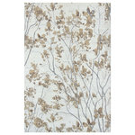 Company C - Almond Blossom Rug, 3x5 - Ethereally elegant, flowering branches of delicate almond blossoms are exquisitely rendered on this opulent hand-knotted original. The soft focus of the design is enhanced by a creamy background with subtle striations of smoky gray. Fine wool yarns in a high knot count give this rug a super-dense pile with a tight softness and a sumptuously smooth surface. Almond Blossom's rich appearance and luxurious hand will enhance any living space. 100% wool.