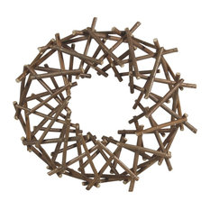 AREOhome - Wood Twig Round Wreath 10  Expandable Indoor Outdoor Branch Wall - Outdoor  sc 1 st  Houzz & 50 Most Popular Rustic Outdoor Wall Art for 2018 | Houzz