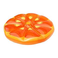 "49"" Inflatable Orange Fruit Slice Swimming Pool Island Lounger Raft Float"
