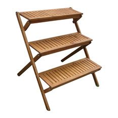 Gentil VIFAH   Vifah Outdoor Wood Three Layer Plant Stand   Plant Stands And  Telephone Tables