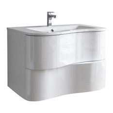 "Aquamoon Cambria 31 1/2"" Modern Wall Mount Bathroom Vanity, White"