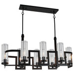 "Artcraft - Palazzo Vecchio AC10878JV 8-Light Chandelier - The ""Palazzo Vecchio"" collection features flat arms painted in a rich dark java brown finish. Comes with a tall cylindrical clear glass which compliments its curvy design. (Best suited with vintage filament bulbs - not included)."