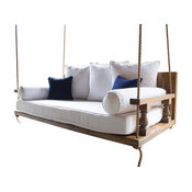 Maisie Wood Porch Swing Bed, Harvest Wheat Finish, Twin Mattress Size