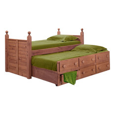 Chelsea Home - Twin Panel Post Bed With Twin Trundle Unit Mahogany Stain, 31950-T - Kids Beds