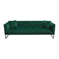Crawford Tufted Sofa With Polished Metal Legs Emerald Green Velvet