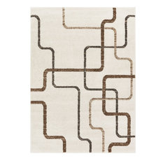 "Well Woven Serenity Juillet Modern Squares Lines Ivory Area Rug 9'3"" x 12'6"""