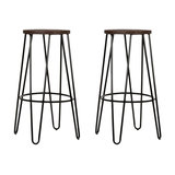 Hairpin Metal Kitchen Stool, Dark Wood, Black Steel, Medium, Set of 2